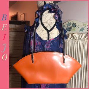 BEIJO ORANGE FAN SHAPED SHOULDER BAG w/Sleeper Bag